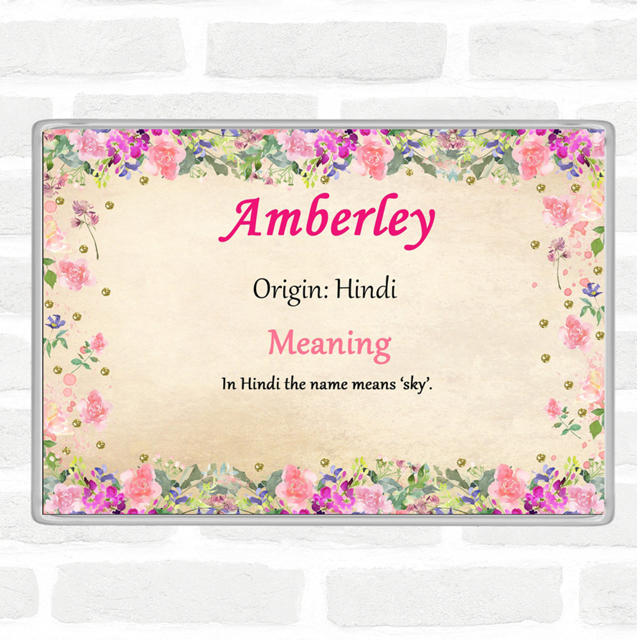 Amberley Name Meaning Jumbo Fridge Magnet Floral