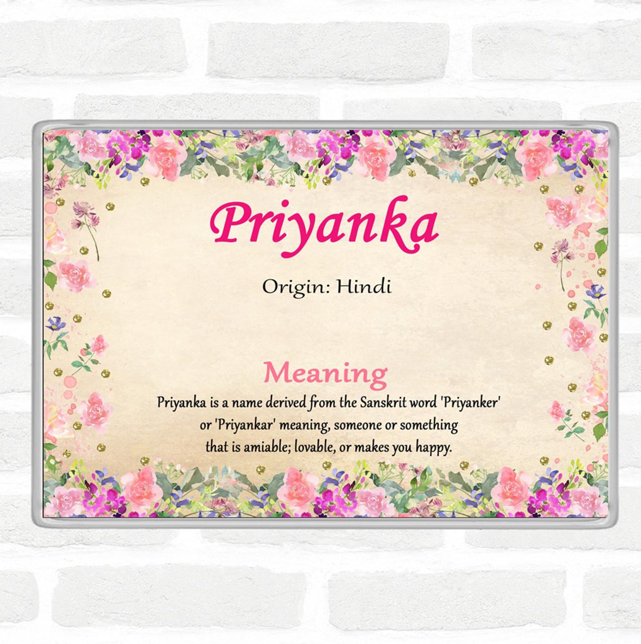 Priyanka Name Meaning Jumbo Fridge Magnet Floral The Card Zoo Baby names that sound like priyanka include parnaz, preama, premma, premmah, primma, princcess, princea, princee, princes, princesse, princey, princi, princie. priyanka name meaning jumbo fridge magnet floral
