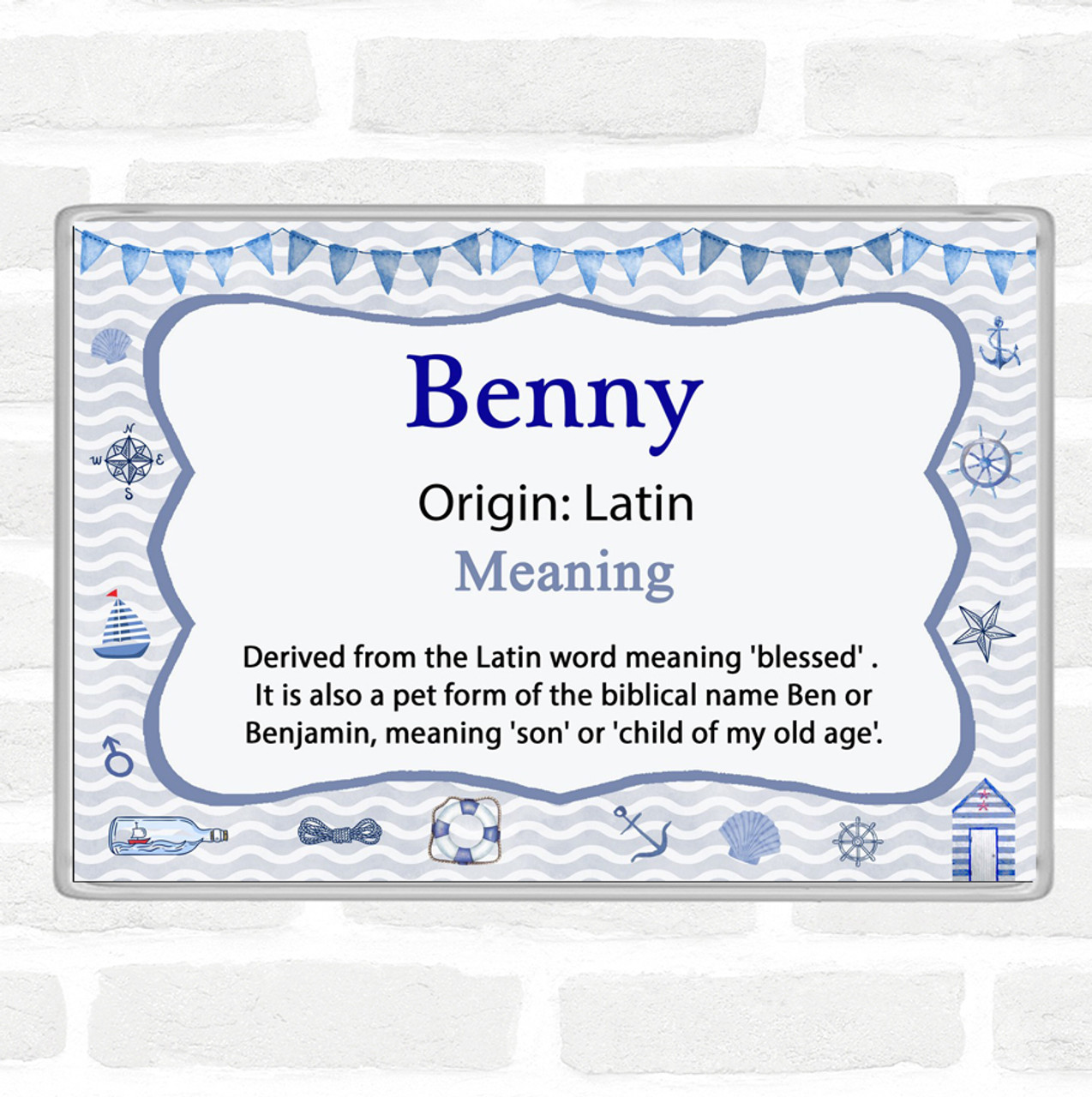 Benny Name Meaning Jumbo Fridge Magnet Nautical
