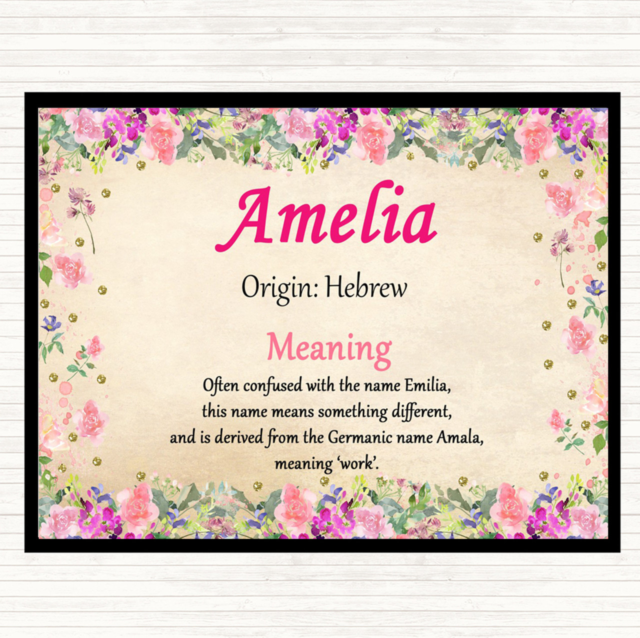 Amelia Name Meaning Mouse Mat Pad Floral