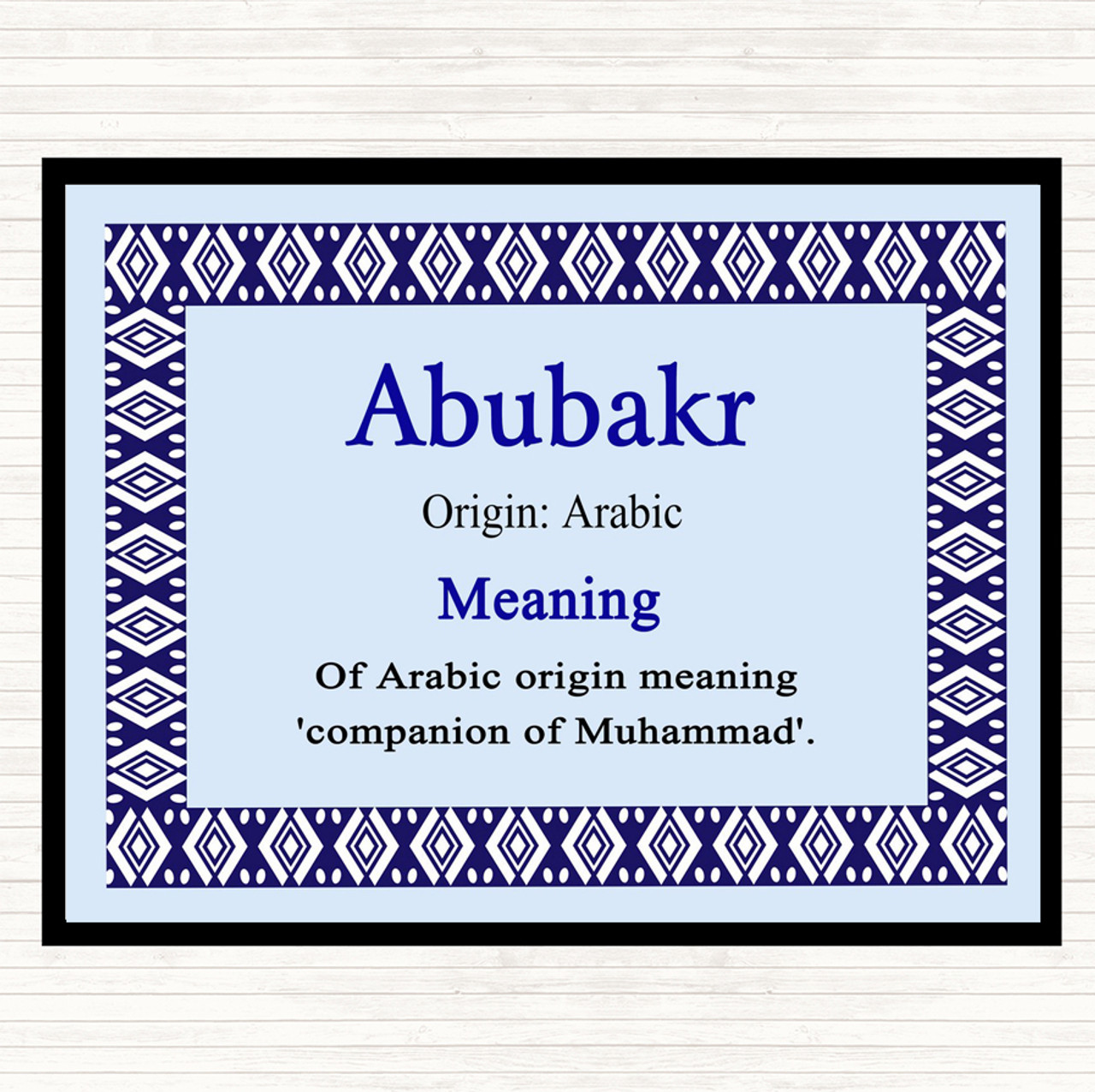 Abubakr Name Meaning Dinner Table Placemat Blue