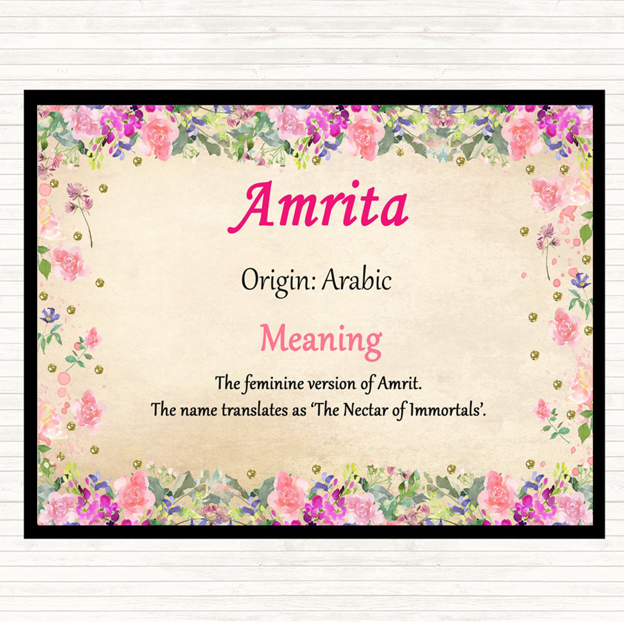 Amrita Name Meaning Dinner Table Placemat Floral