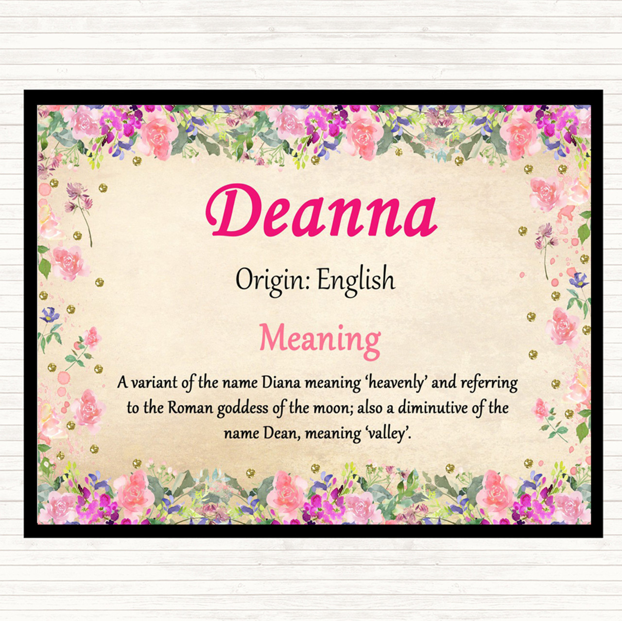 Deanna Name Meaning Dinner Table Placemat Floral
