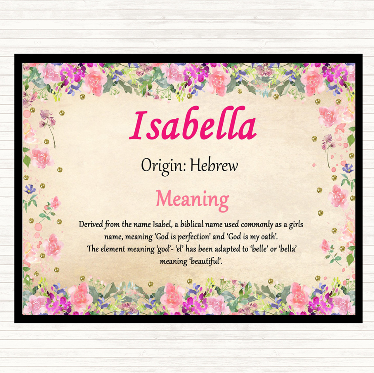 Isabella Name Meaning Dinner Table Placemat Floral - The ...