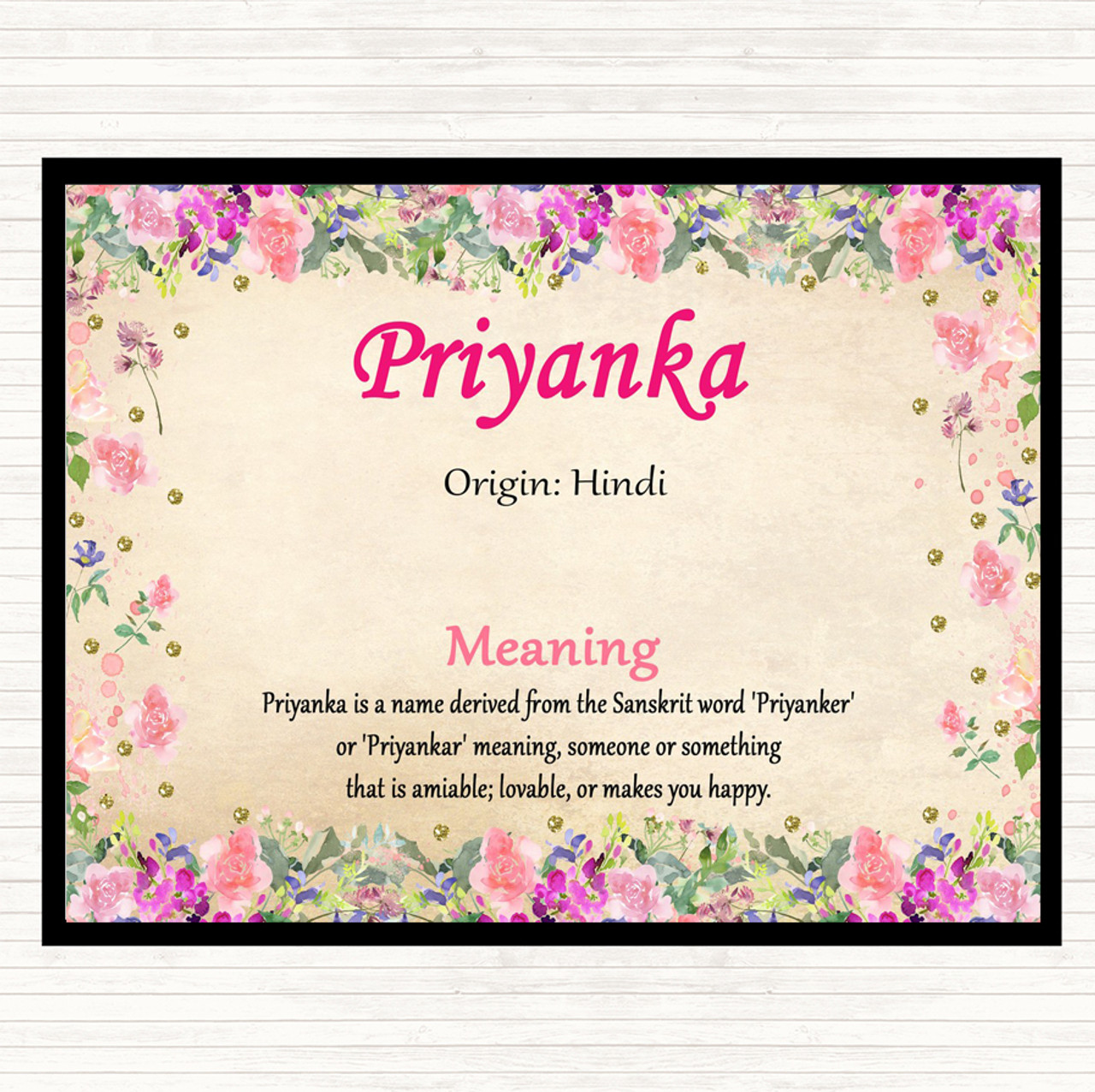 Priyanka Name Meaning Dinner Table Placemat Floral