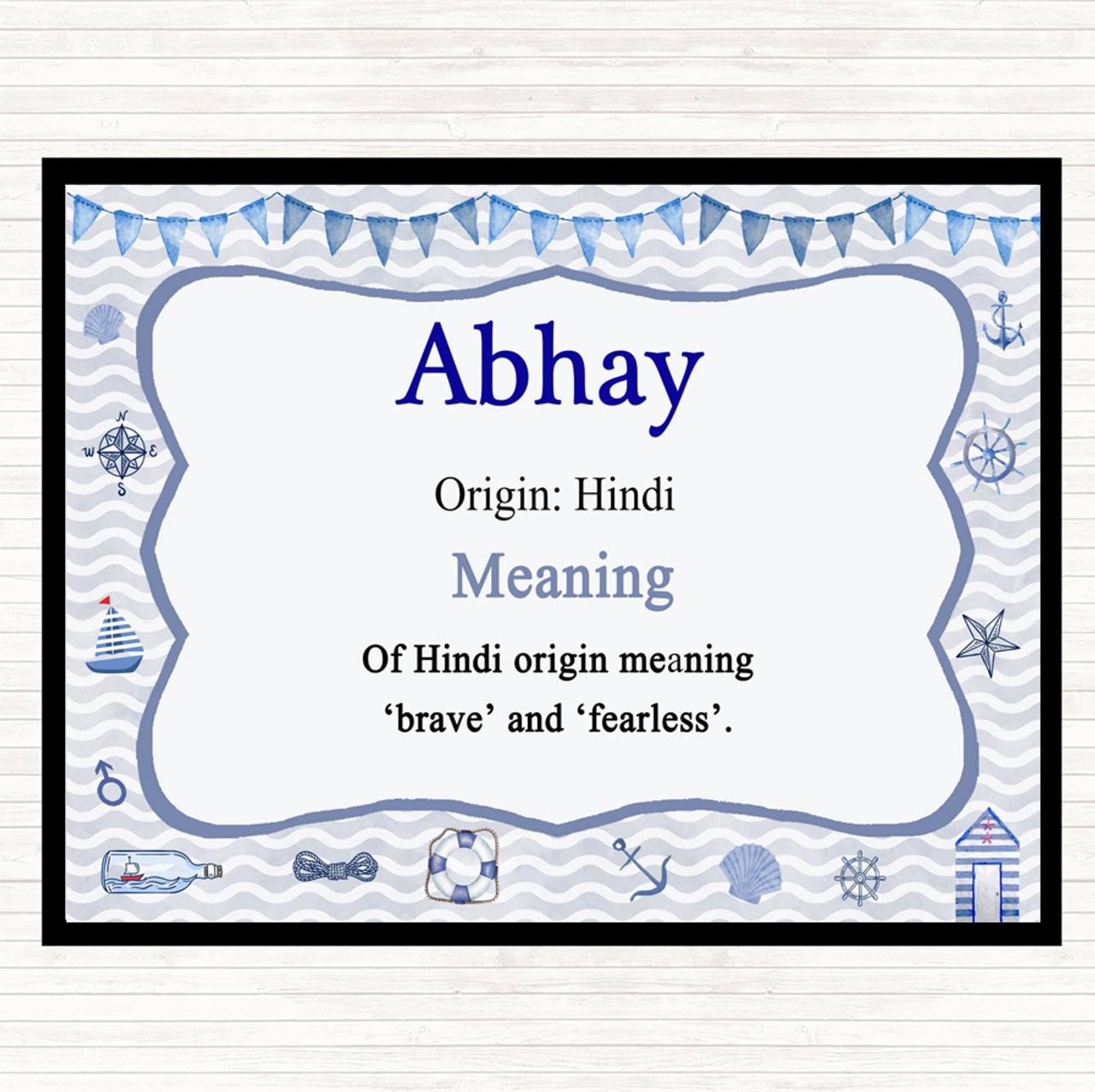 Abhay Name Meaning Dinner Table Placemat Nautical
