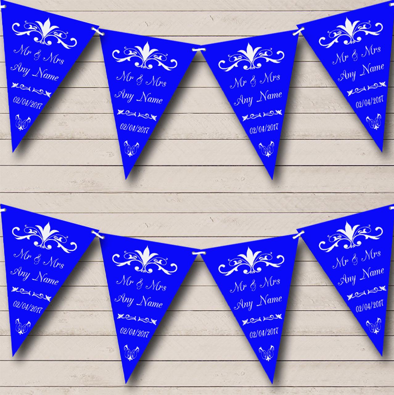 Royal Blue White Black Damask Wedding Venue or Reception Bunting Banner