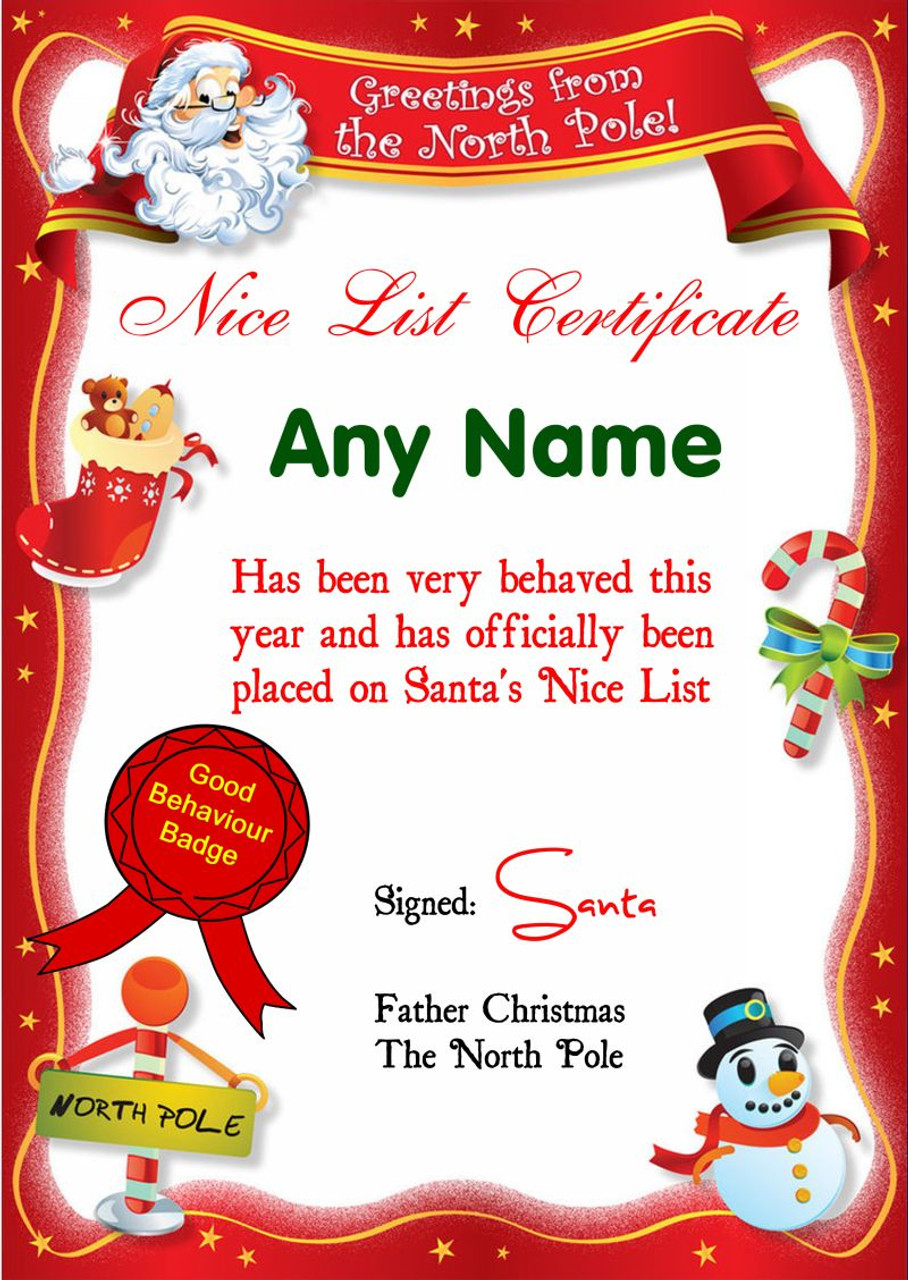 Red North Pole Personalised Christmas Santa S Nice List Certificate The Card Zoo