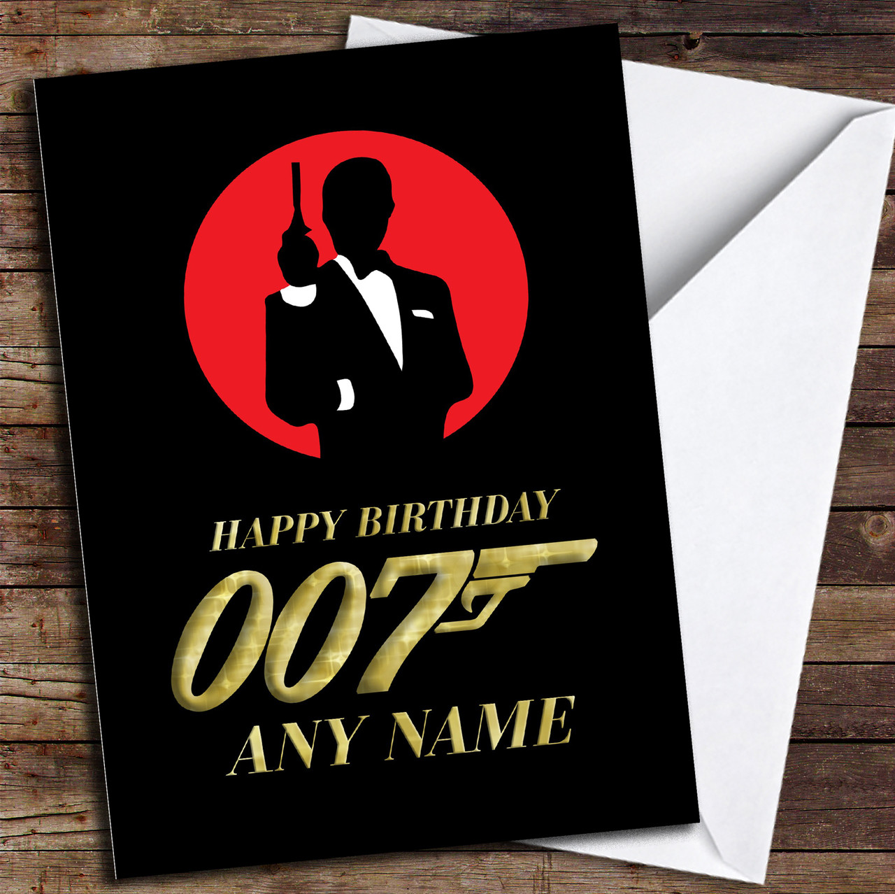 James Bond 007 Gold Personalised Birthday Card