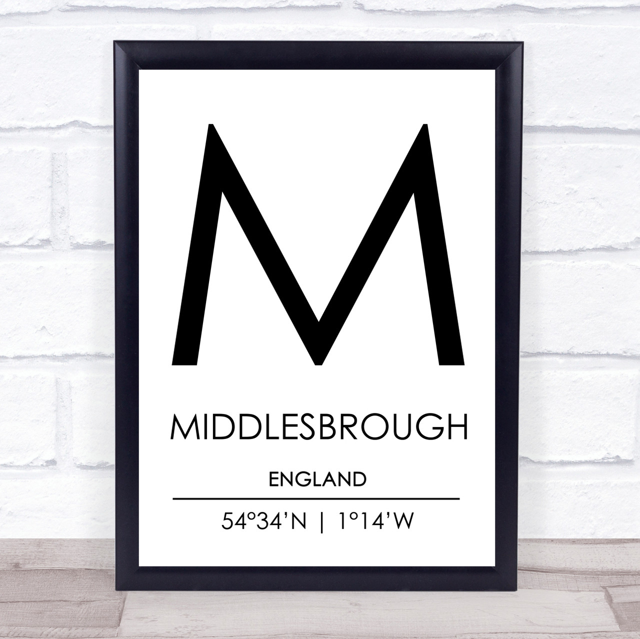 Sunderland England Coordinates Black /& White Travel Quote Poster Print