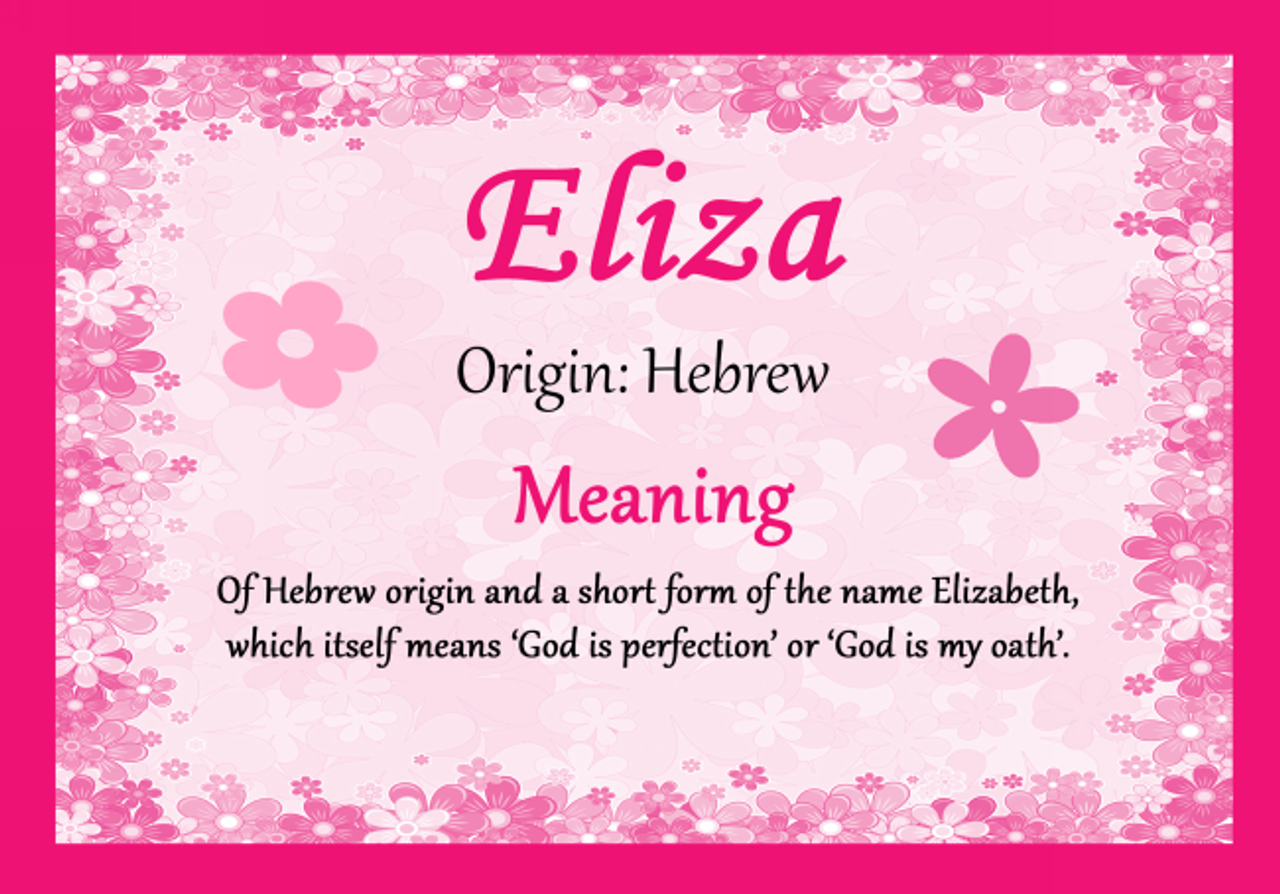 Eliza Personalised Name Meaning Certificate - The Card Zoo