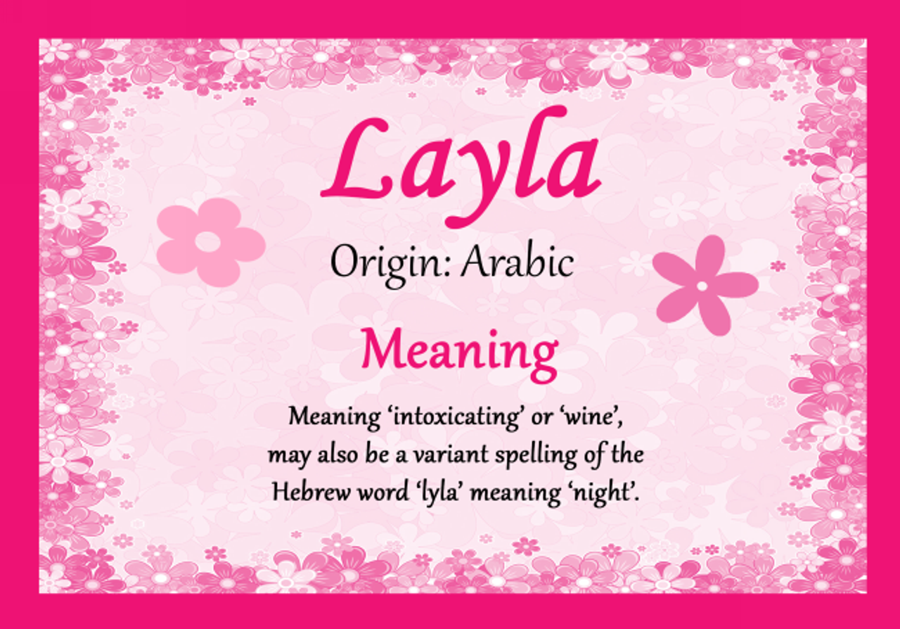 Layla Personalised Name Meaning Certificate