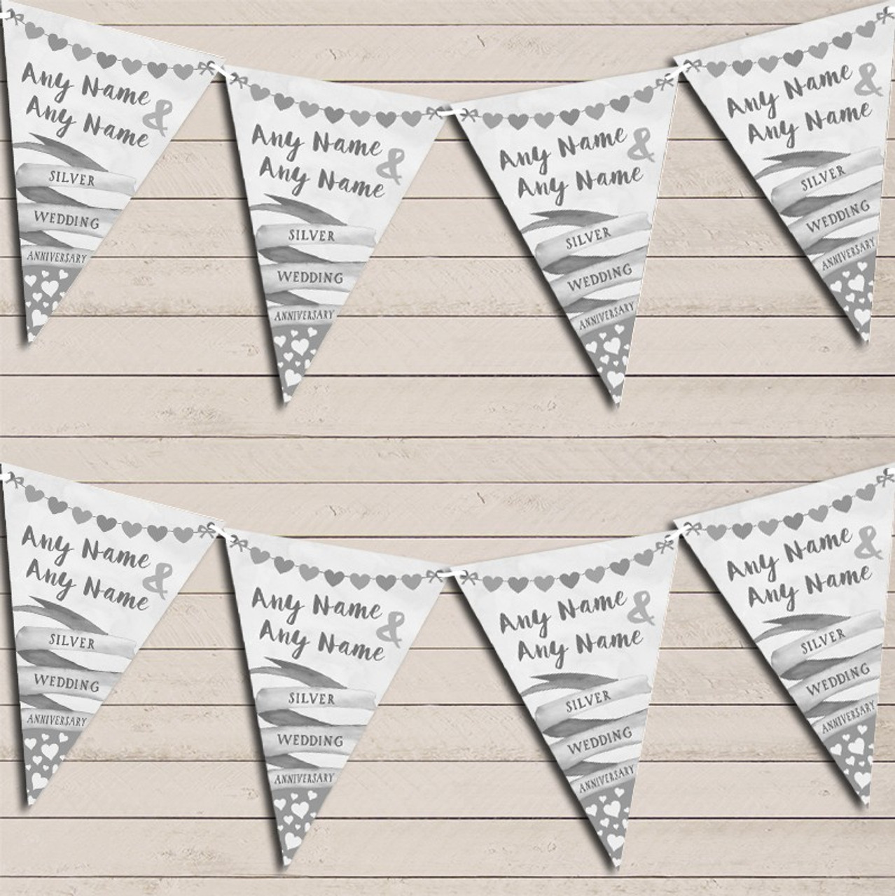 Flag Banner /& Hearts Silver 25th Wedding Day Married Bunting Garland