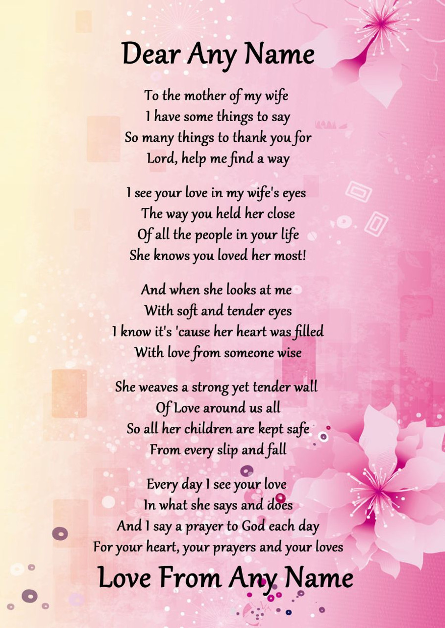 Pink & Yellow My Wife's Mother Personalised Poem Certificate