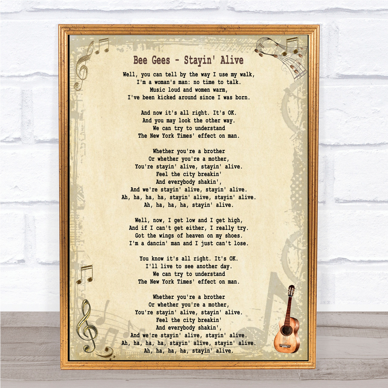 Bee Gees Stayin' Alive Song Lyric Quote Print