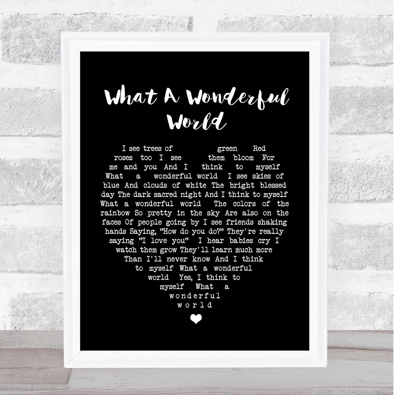 What A Wonderful World Grey Heart Song Lyric Quote Print