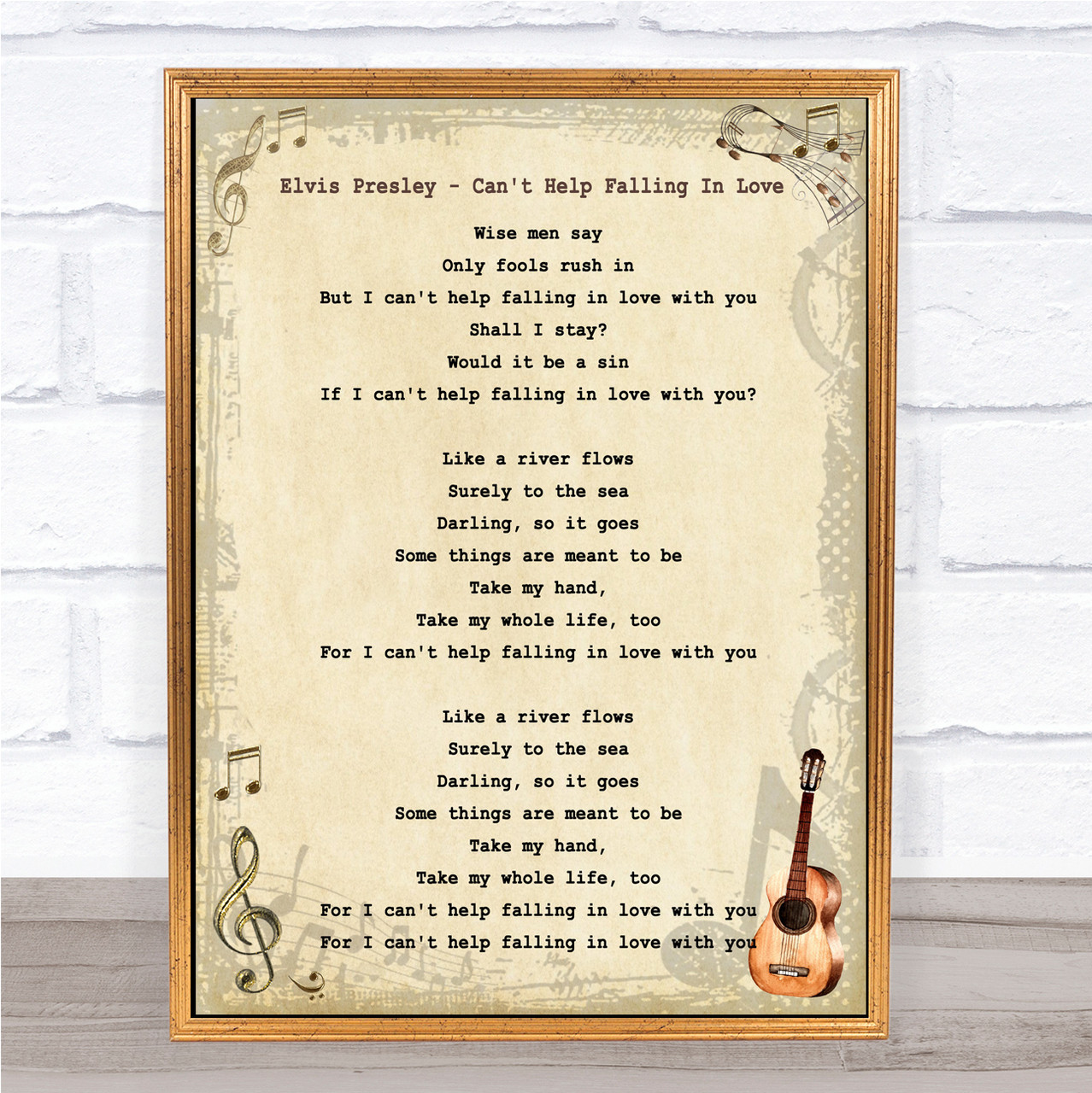 Falling In Love With You Grey Heart Song Lyric Quote Print I Can/'t Help
