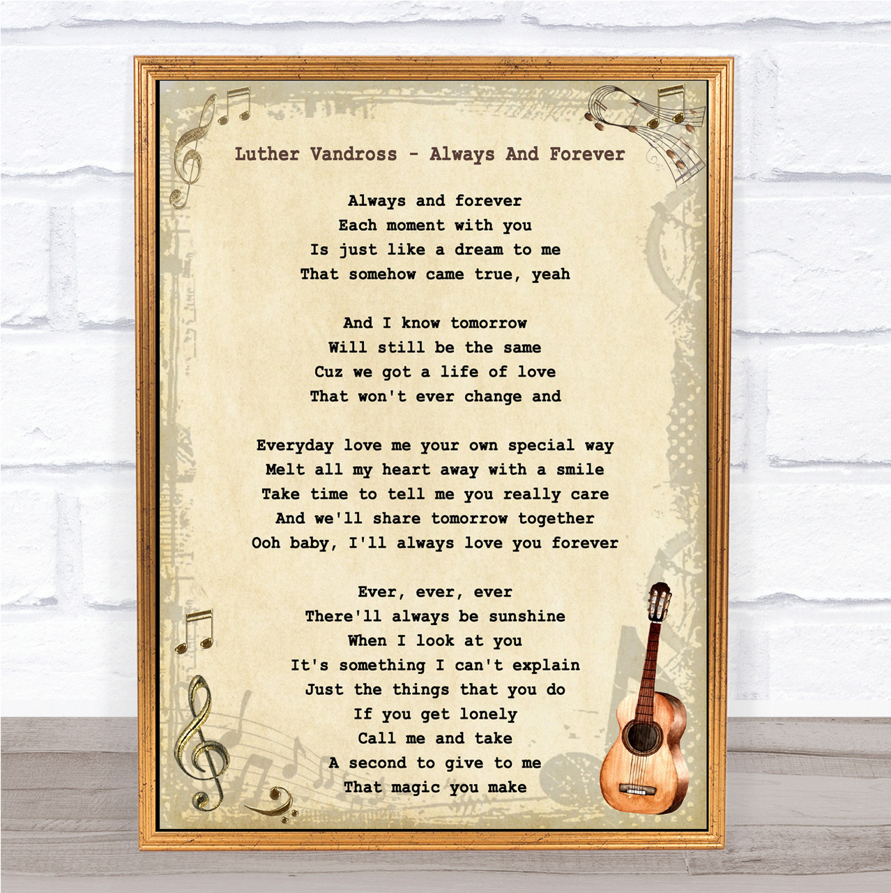 Luther Vandross - Always And Forever Song Lyric Guitar Quote Print
