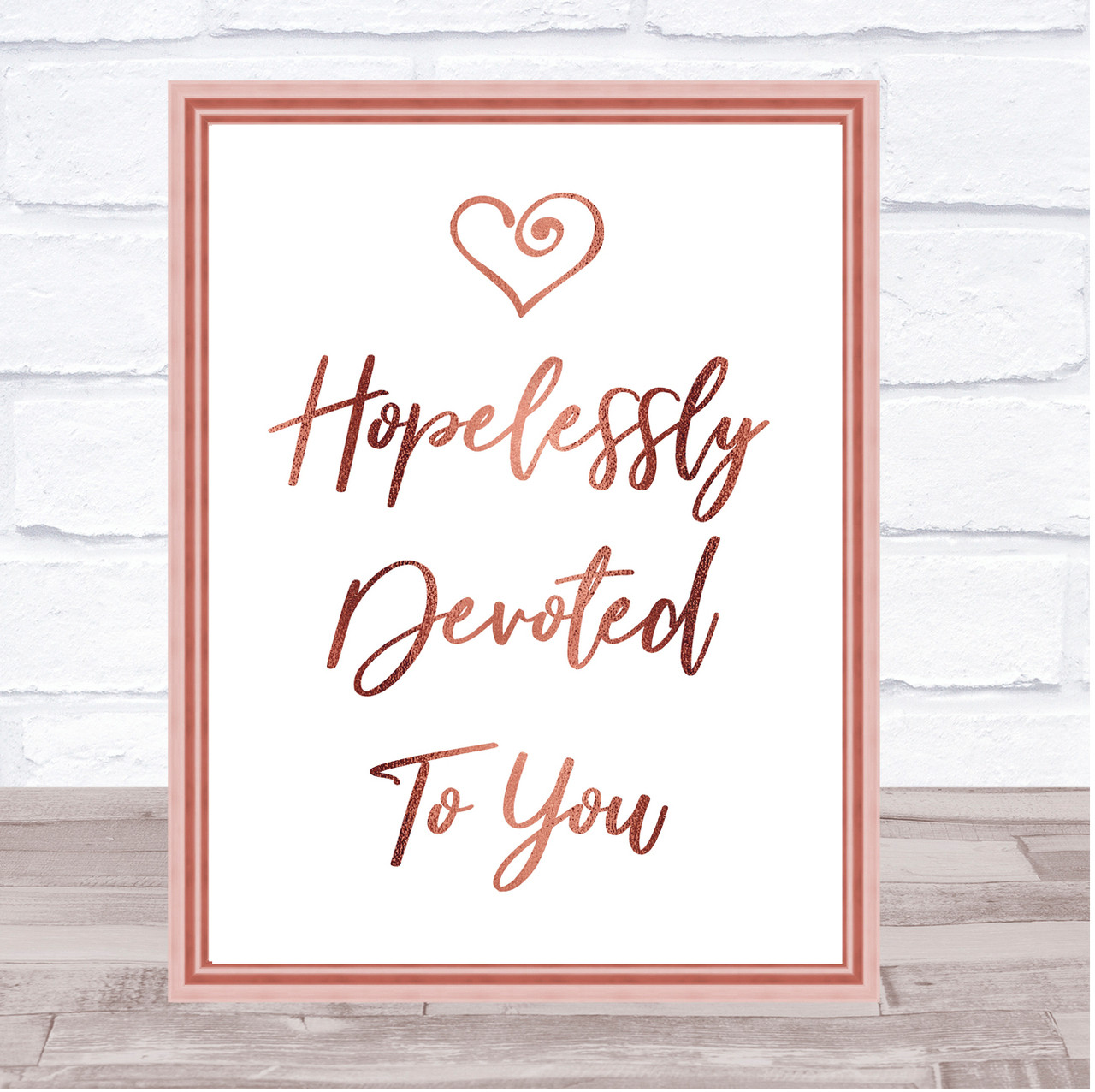 Rose Gold Love Is All You Need Song Lyric Quote Print