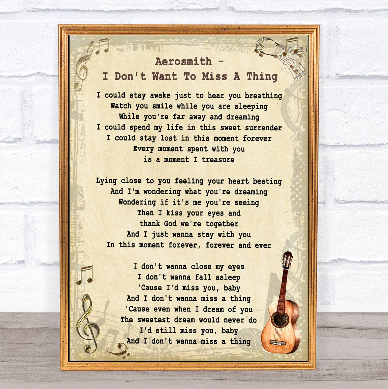 From This Moment On Vintage Heart Song Lyric Quote Print