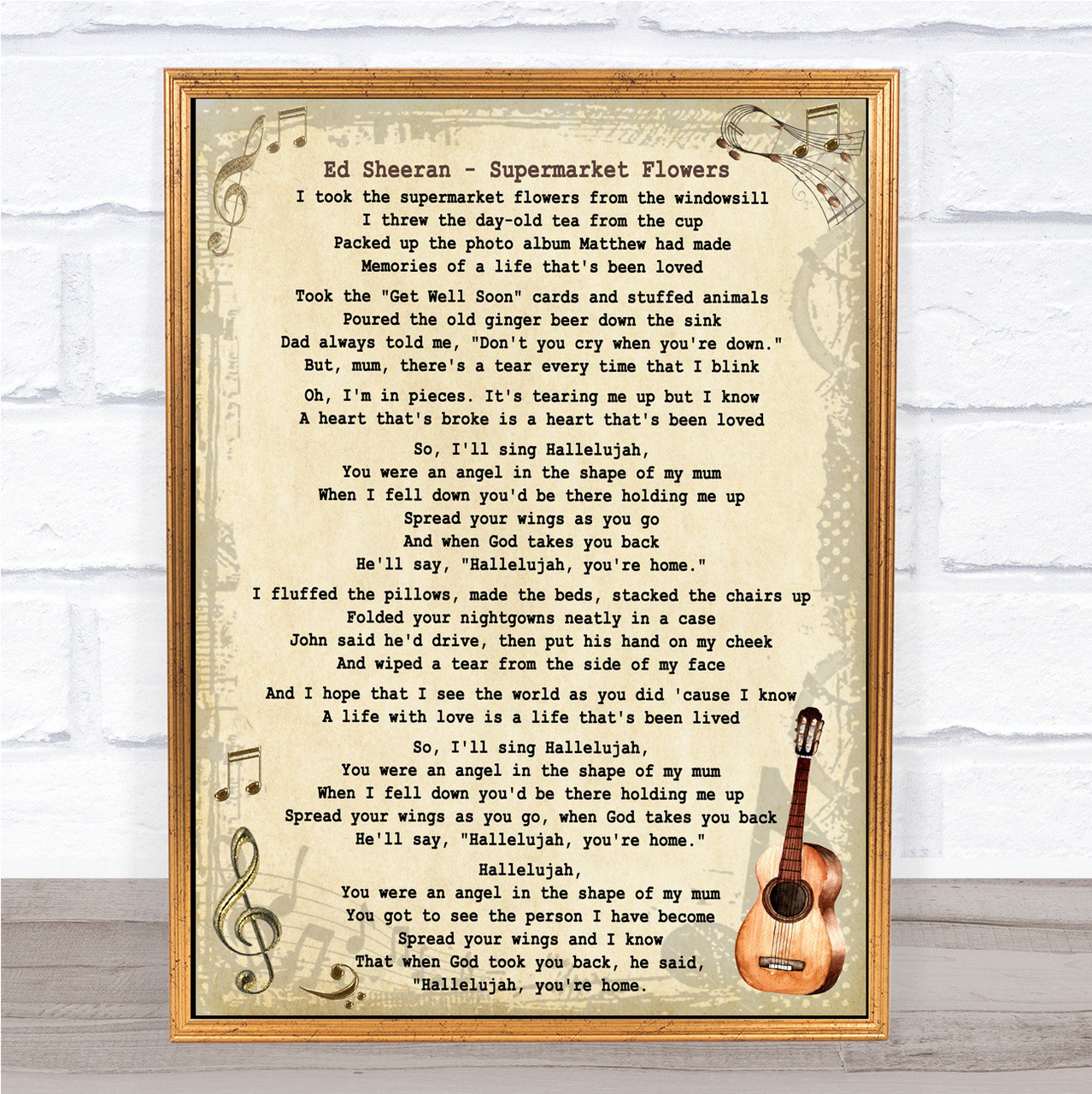 Supermarket Flowers Song Lyric Vintage Quote Print