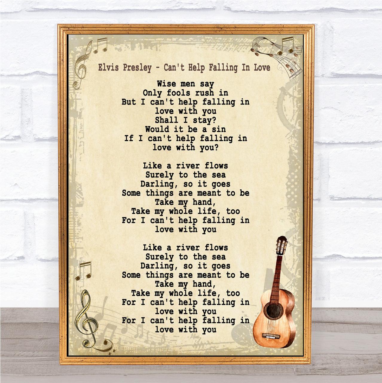 Elvis Presley Can/'t Help Falling In Love Rustic Script Song Lyric Quote Print