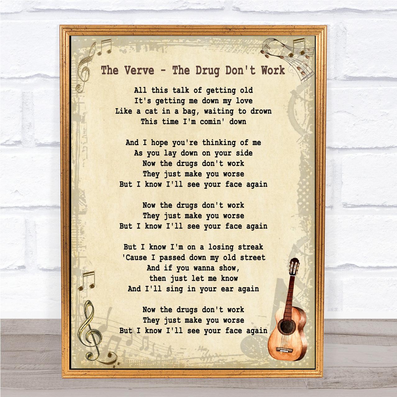 The Verve Bittersweet Symphony Vintage Shabby chic Song Lyrics Canvas Art Print