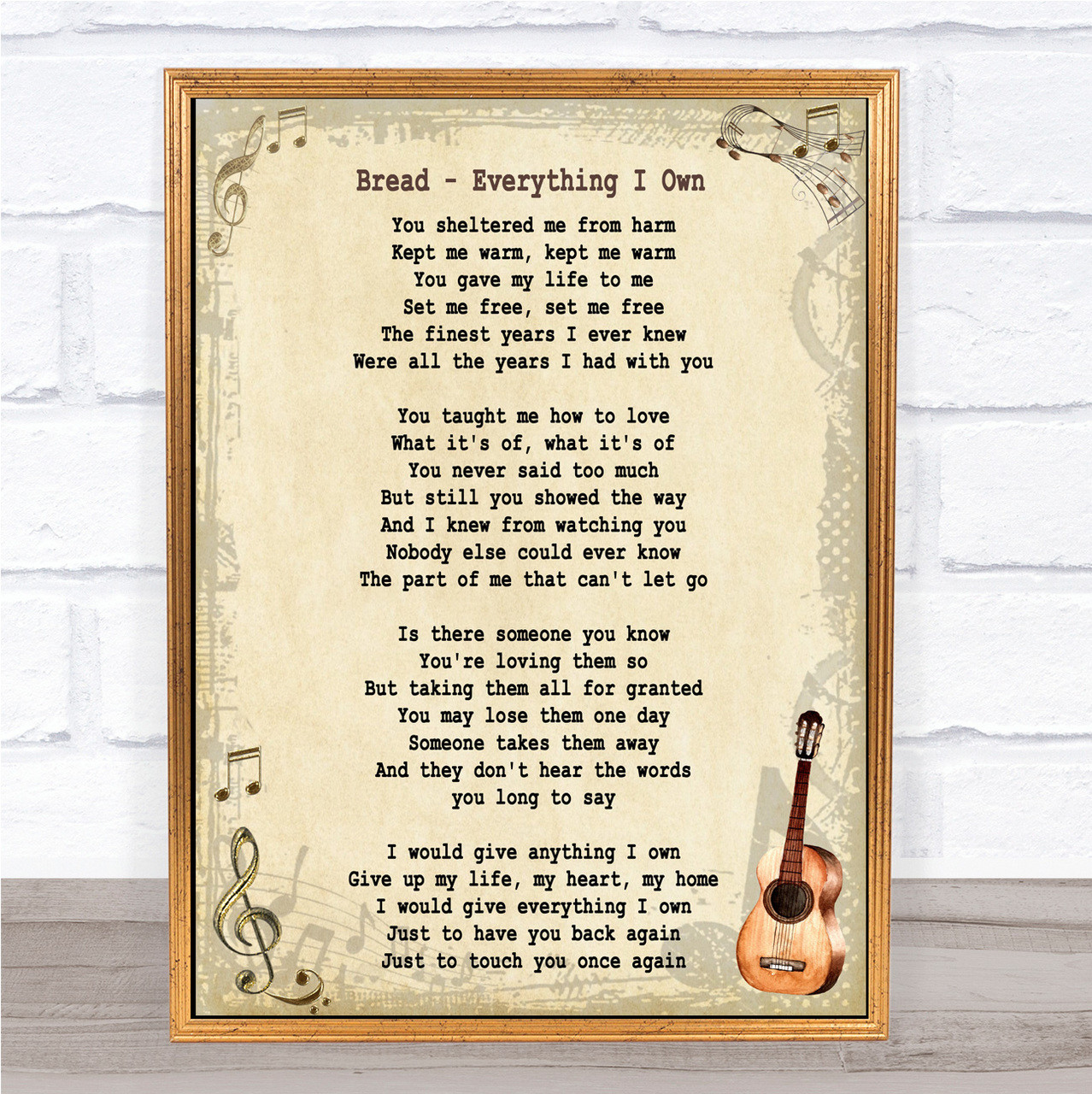 Everything Vintage Heart Song Lyric Quote Print