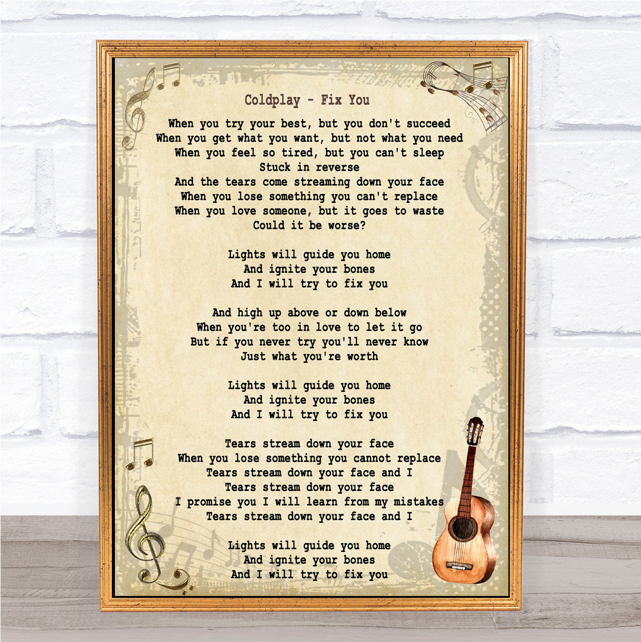 Fix You 4 sizes song lyric poster art typography print COLDPLAY