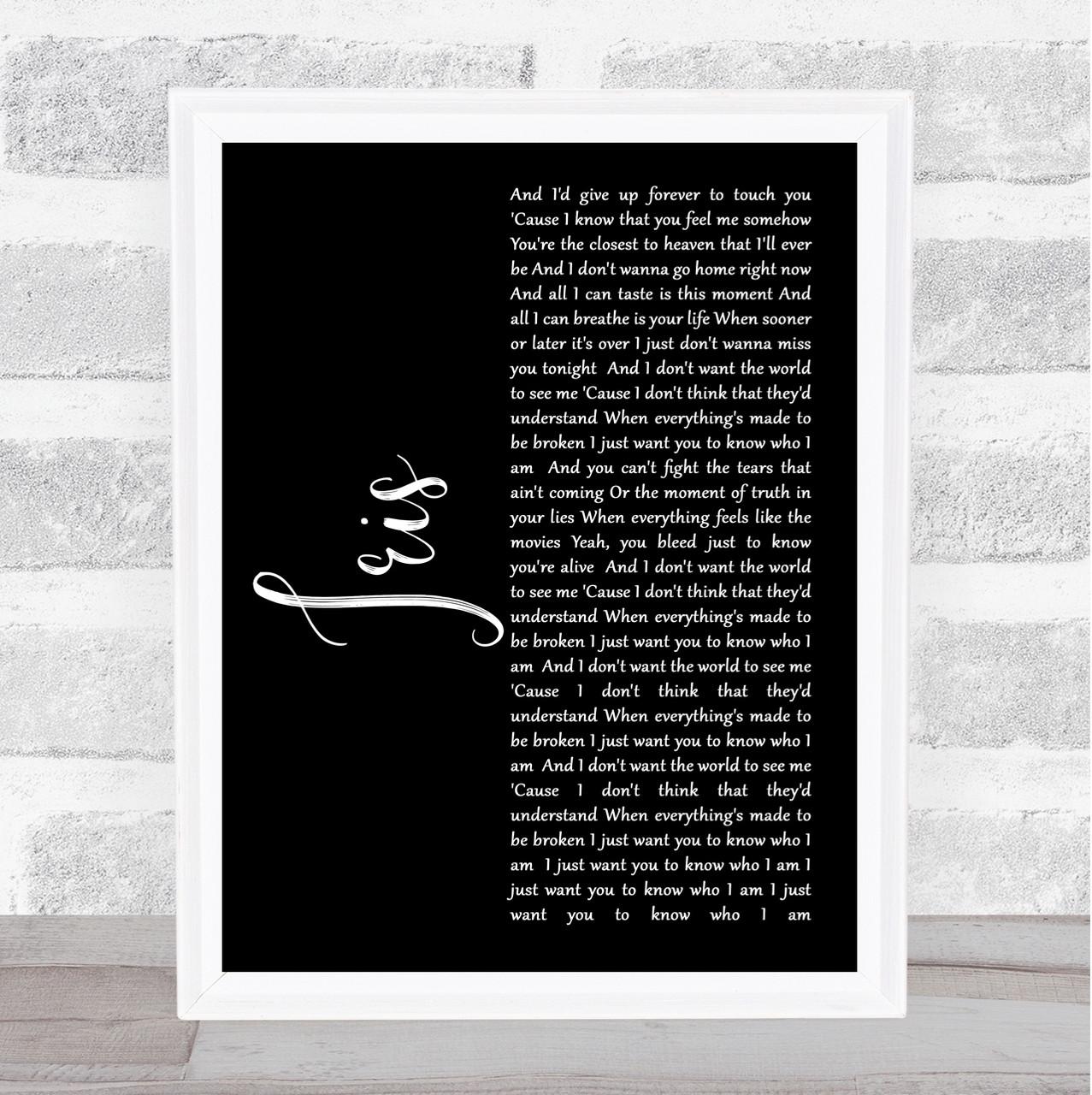 Iris Script Quote Song Lyric Print