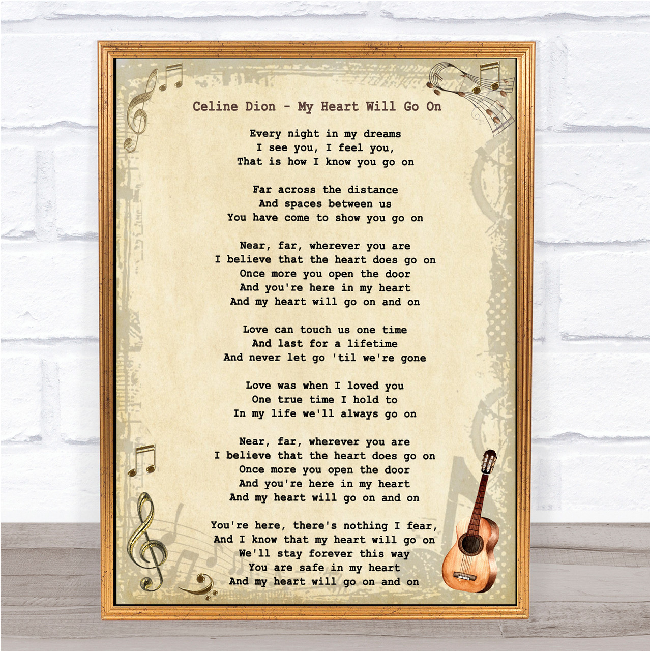 You/'re The Inspiration Vintage Heart Song Lyric Quote Print