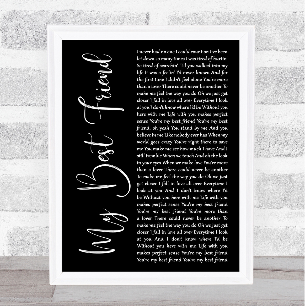 Tim McGraw My Best Friend Black Script Song Lyric Quote Print