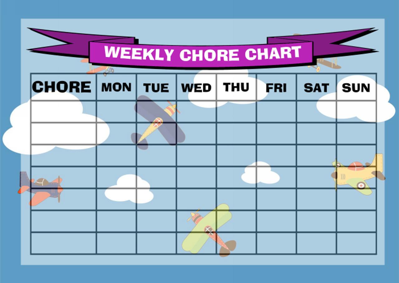 Weekly Chore Rota Task Reward Chart Rainbow