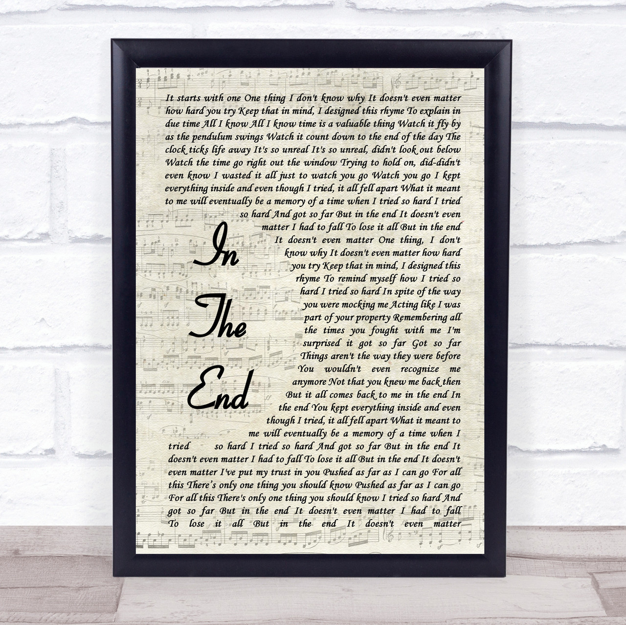 Linkin Park In The End Vintage Script Song Lyric Quote Print