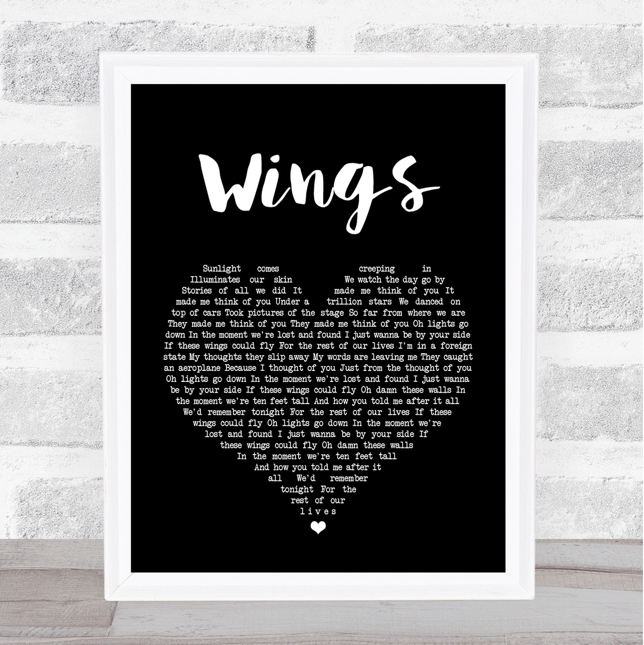 Birdy Wings Black Heart Song Lyric Quote Print