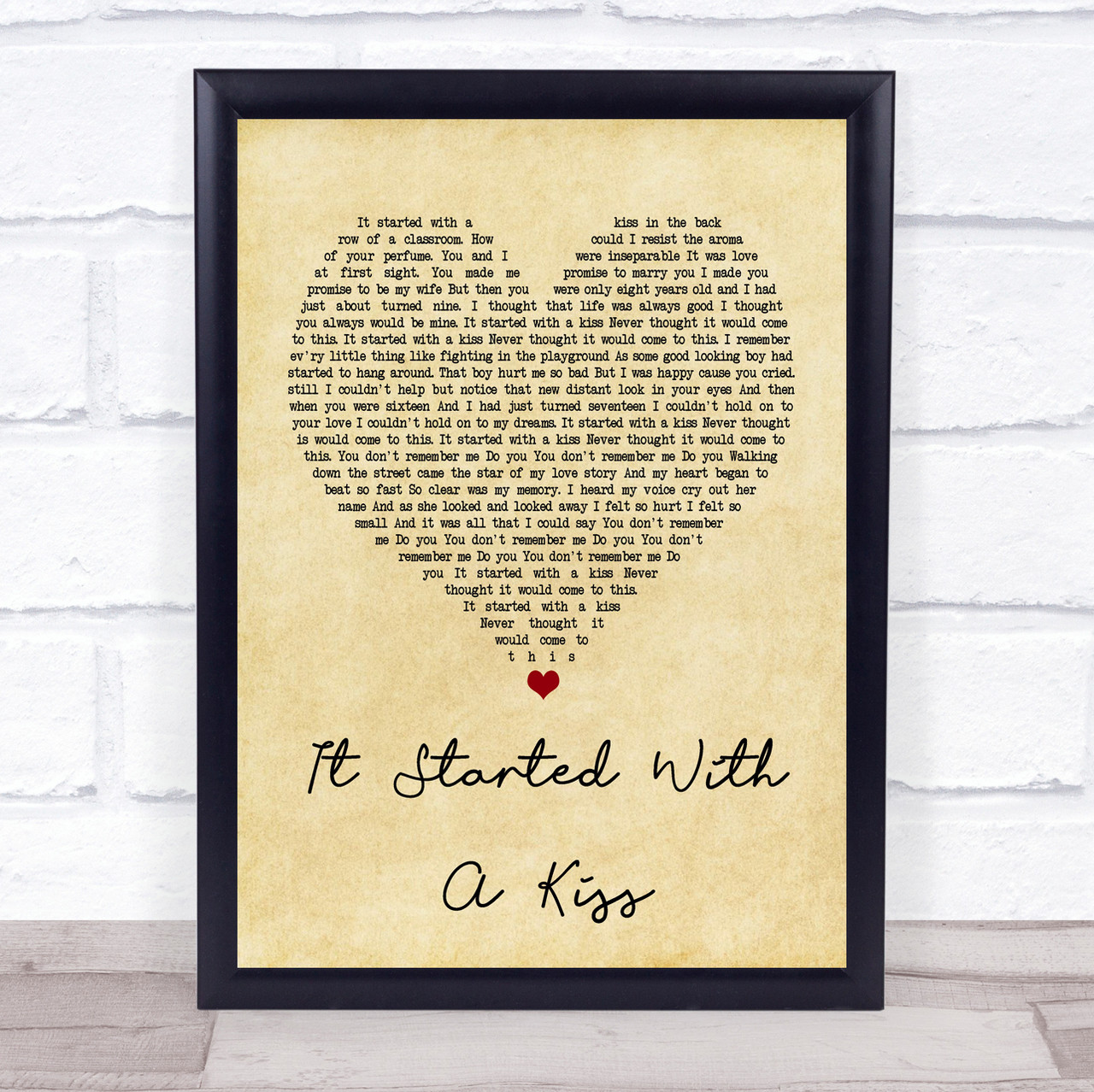 Hot Chocolate It Started With A Kiss Vintage Heart Song Lyric Quote Print