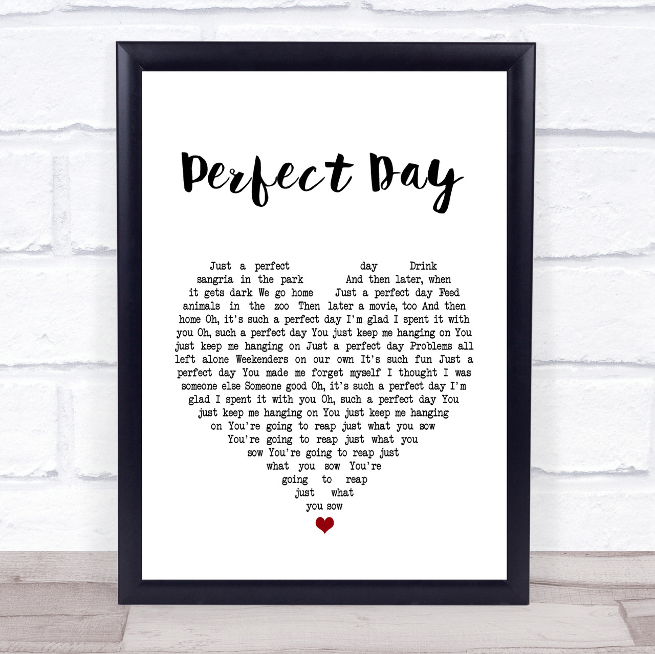 Lou Reed Perfect Day White Heart Song Lyric Quote Print