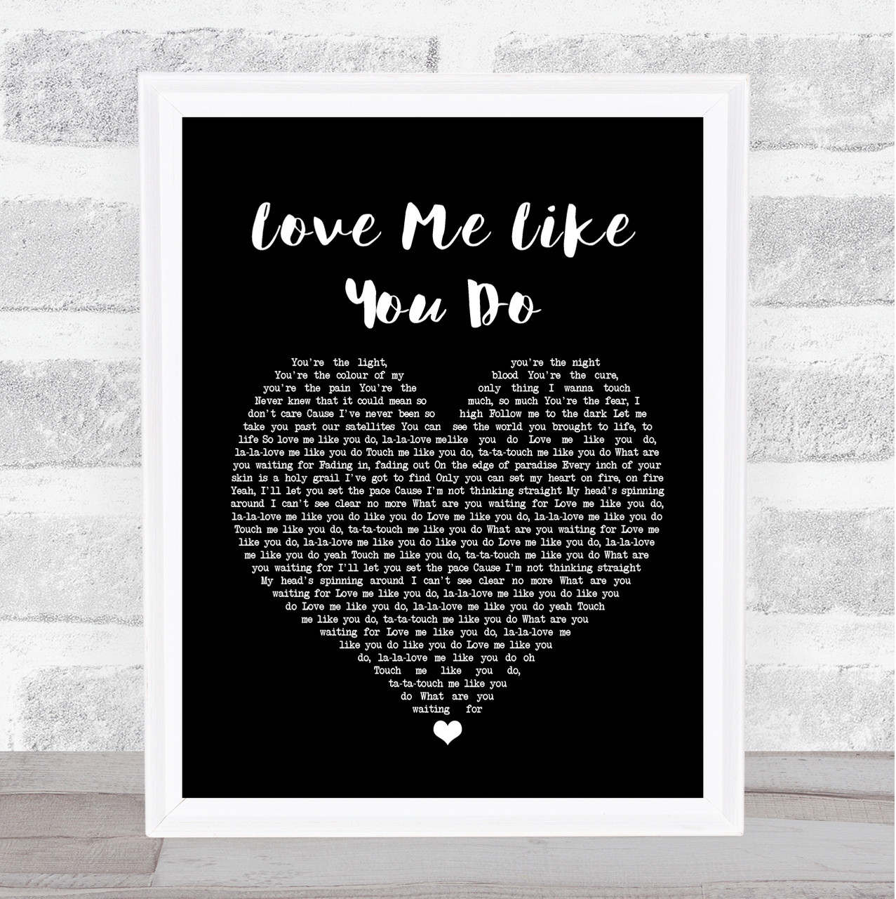 Ellie Goulding Love Me Like You Do Black Heart Song Lyric Quote Print