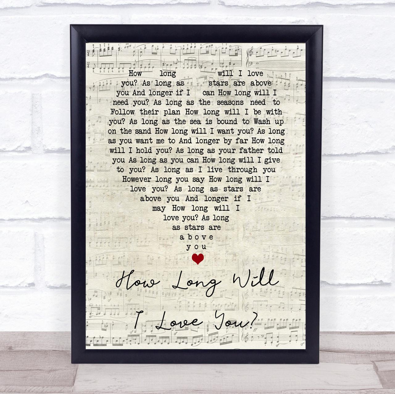 Ellie Goulding /'How Long Will I Love You/' Framed Song Lyrics Heart Print