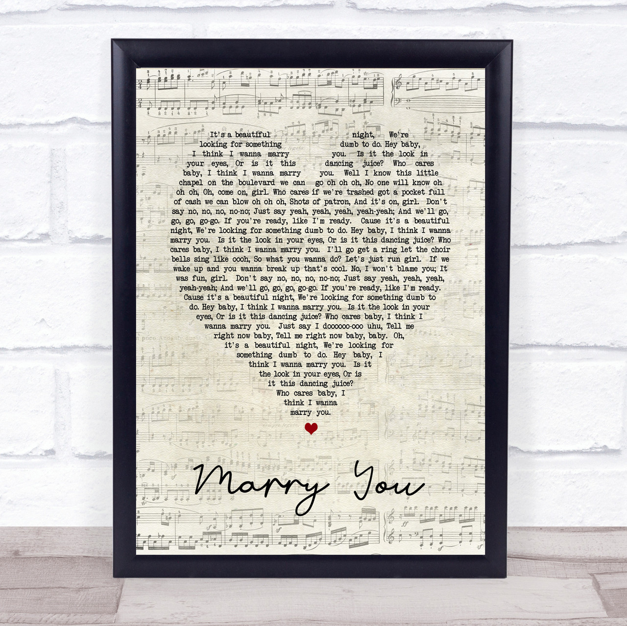 Bruno Mars Marry You personalised gift a4 print valentines anniversary