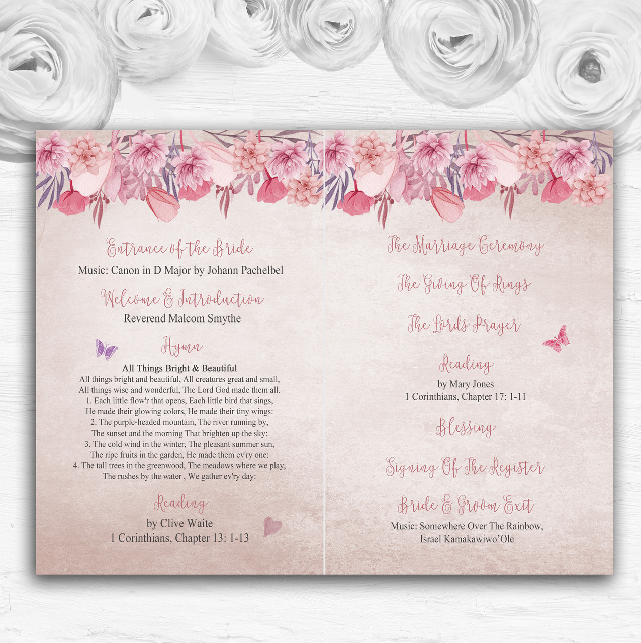 Blush Dusty Pink Lilac Vintage Watercolour Floral Welcome Wedding Sign