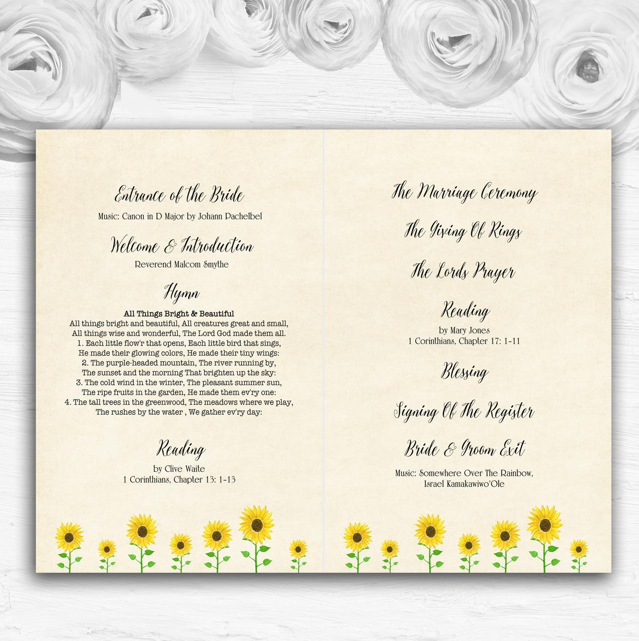Vintage Sunflower Formal Personalised Wedding Table Number Name Cards