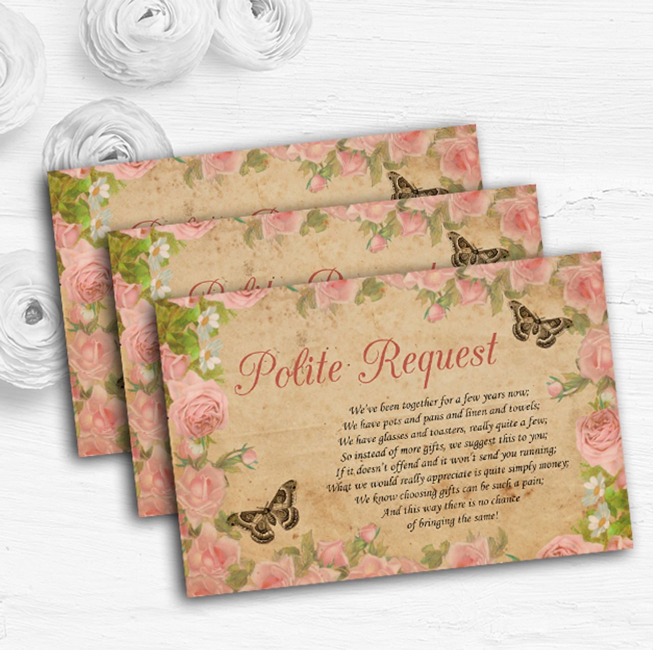Pink Rose Vintage Shabby Chic Postcard Custom Wedding Gift Money Poem Cards  - The Card Zoo