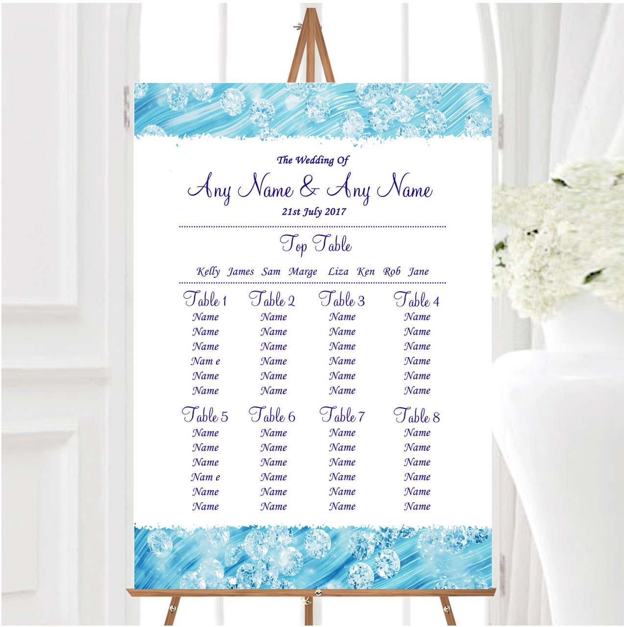 Pretty Sky Blue Floral Diamante Personalised Wedding Seating Table Plan