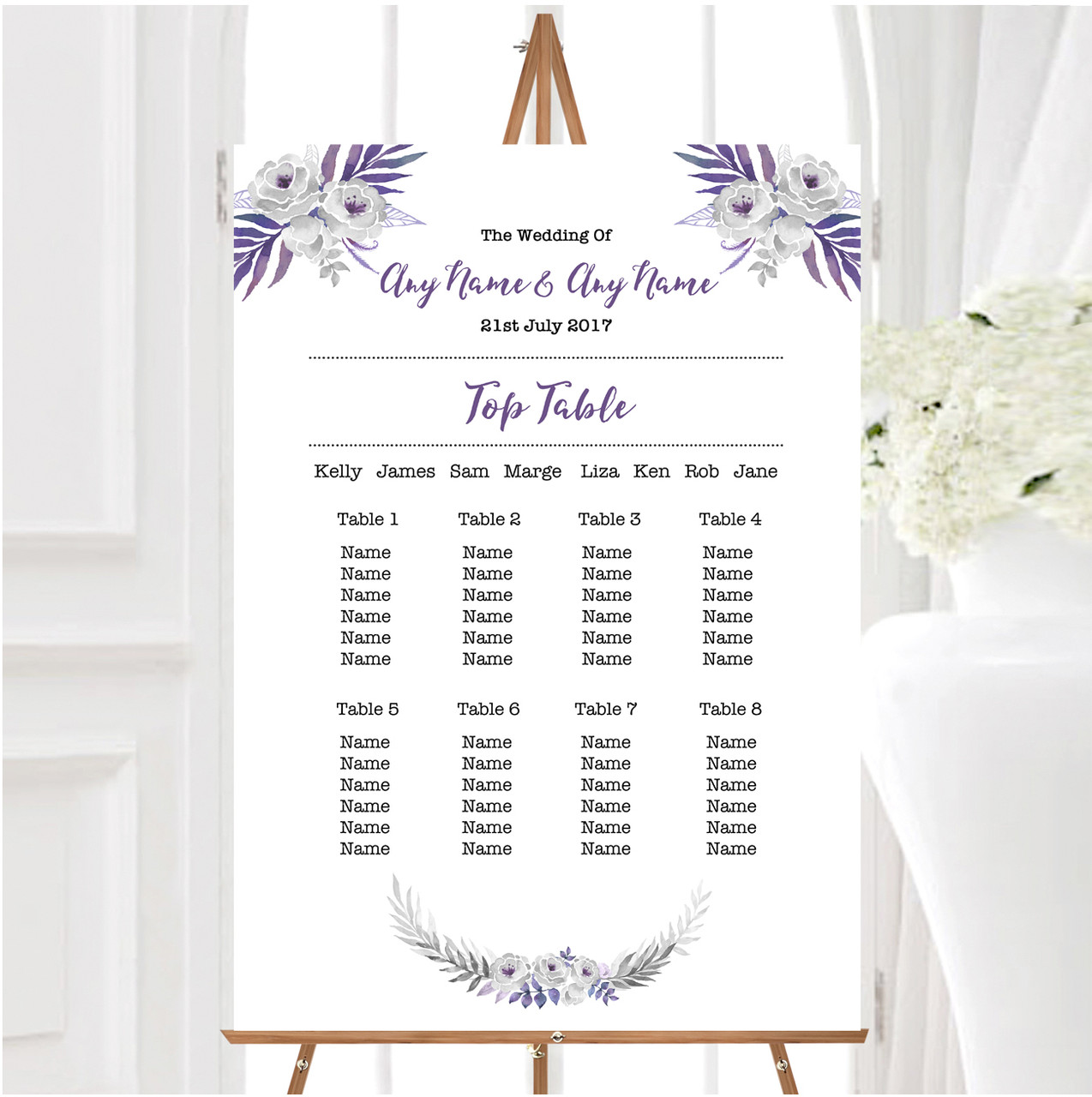 Watercolour Subtle Lilac Wedding Table Seating Name Place Cards