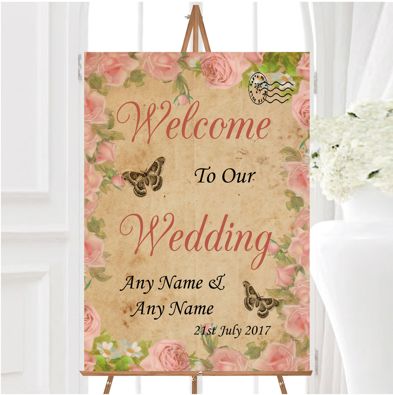 Pink Rose Vintage Shabby Chic Postcard Personalised Welcome Wedding Sign -  The Card Zoo