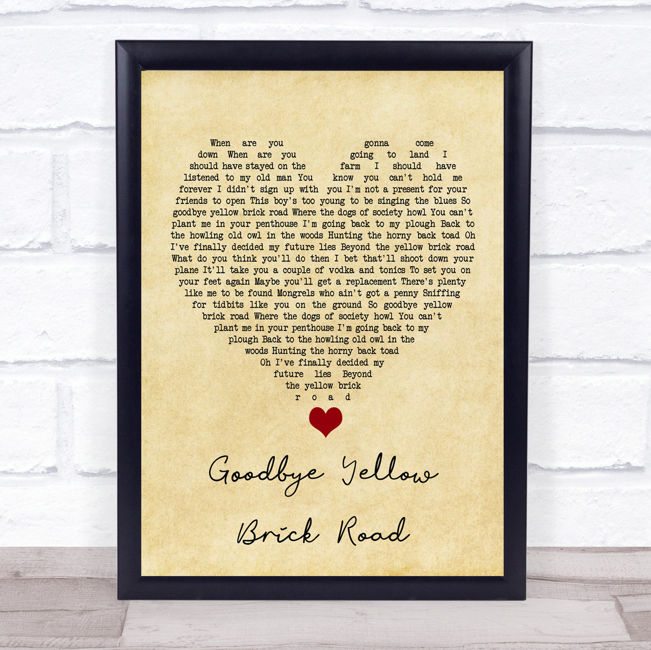 Elton John Goodbye Yellow Brick Road Roblox Elton John Goodbye Yellow Brick Road Vintage Heart Song Lyric Quote Music Print The Card Zoo