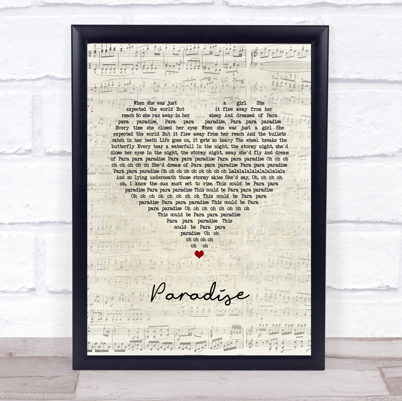 Coldplay Paradise Script Heart Song Lyric Quote Music Print The Card Zoo