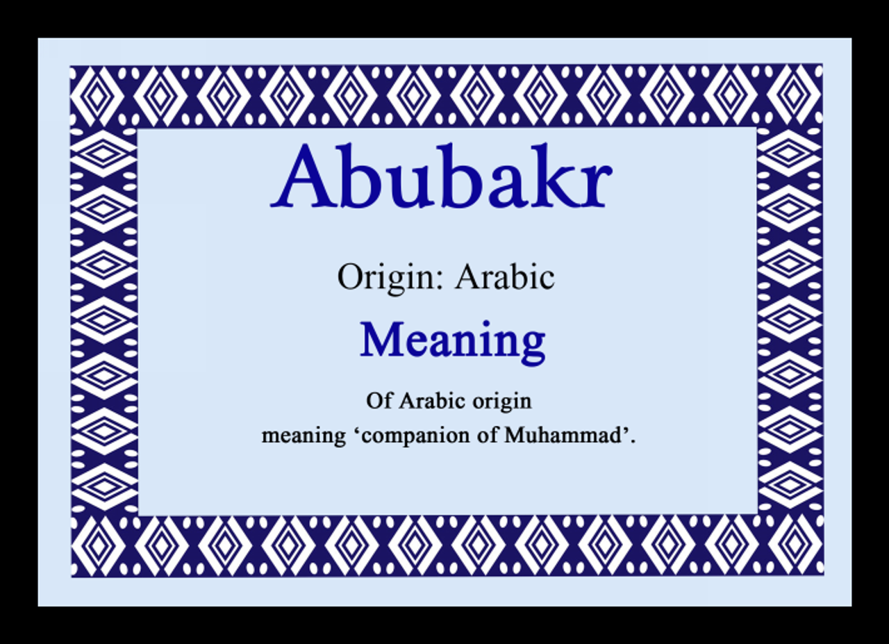 Abubakr Personalised Name Meaning Placemat