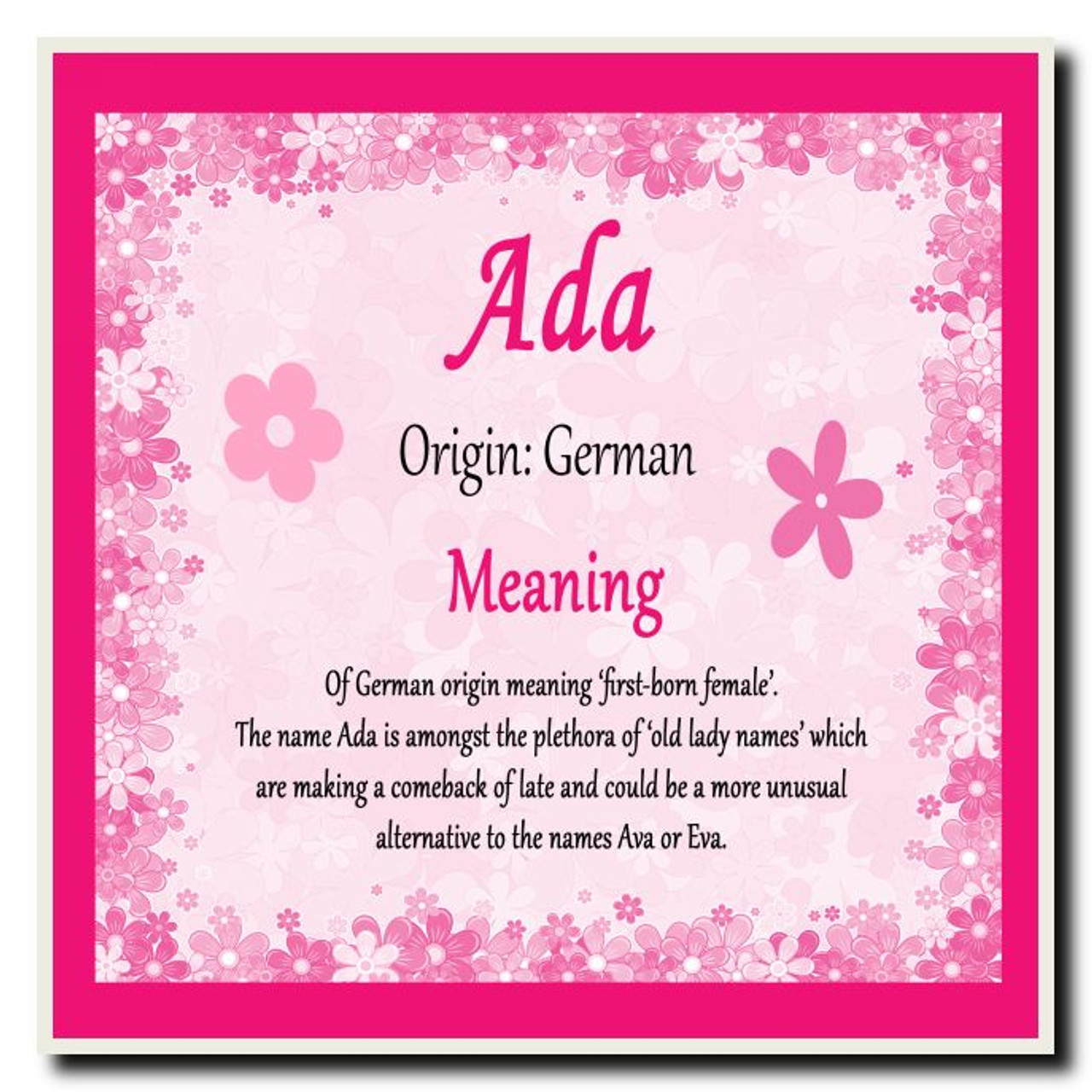 Ada Personalised Name Meaning Coaster - The Card Zoo